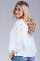 Lace V-Inset Peasant Top in Ivory