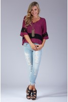 Lace Paneled Boxy Peasant Top in Burgundy