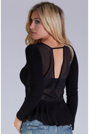 Long Sleeve Knit Peplum Top in Black