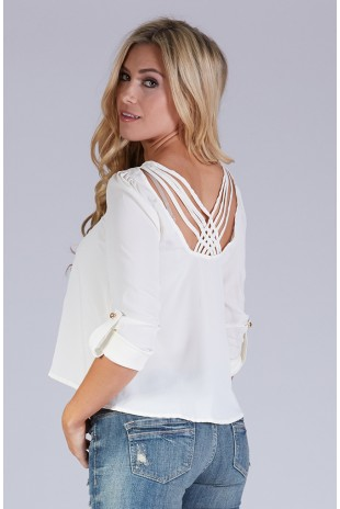 Woven Blouse with Strappy Back Detail in Ivory
