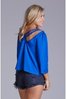 Woven Blouse with Strappy Back Detail in Royal