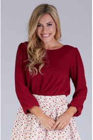Exposed Back Woven Blouse in Burgundy