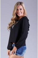 Exposed Back Woven Blouse in Black