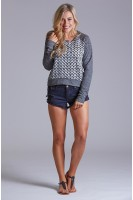 Hounds Tooth Sweatshirt in Heather Grey