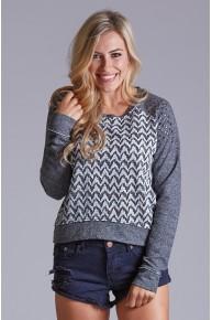 Hounds Tooth Sweatshirt in Heather Grey