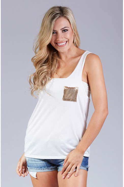 Sequined Pocket Knit Tank Top in Ivory