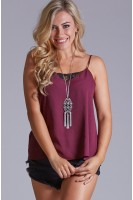 Lace Inset Cami in Burgundy