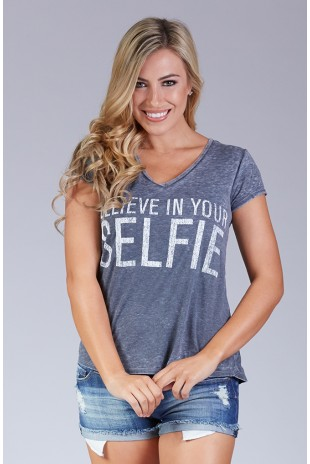 Believe in Your Selfie Burnout Tee in Black