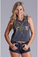 Amor crop tank in Black
