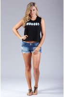 Monday crop tank in Black
