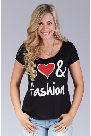 Money love fashion tee in Black