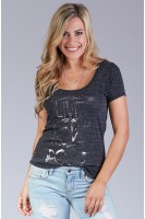 Live love rock tee in Charcoal
