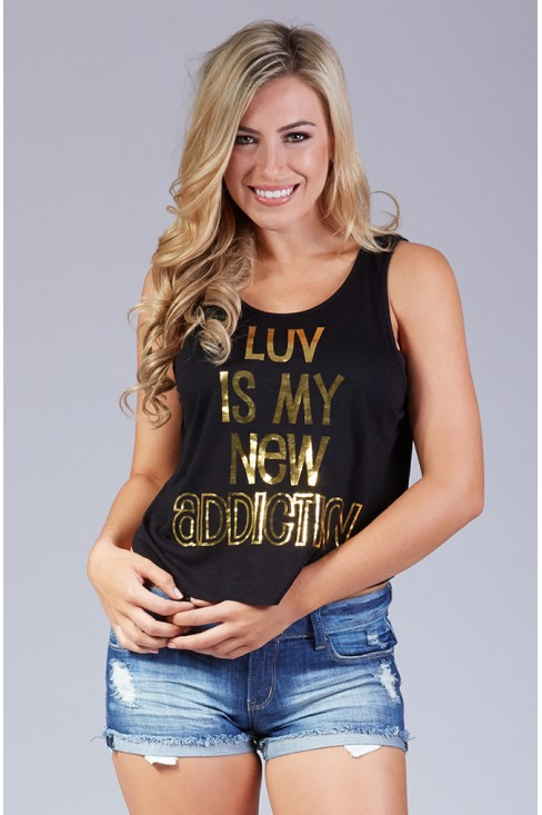 Luv is My New Addiction Crop Tank in Black