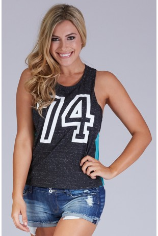#74 Heather Muscle Tank in Black
