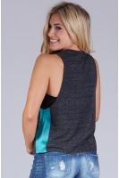 #74 Heather Muscle Tank in Black