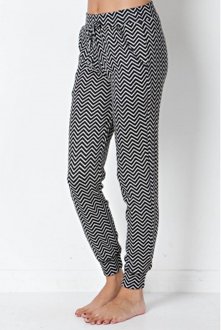 Chevron Knit Jogger in Black/Grey