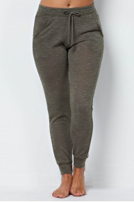 Heather Knit Drawstring Joggers in Olive