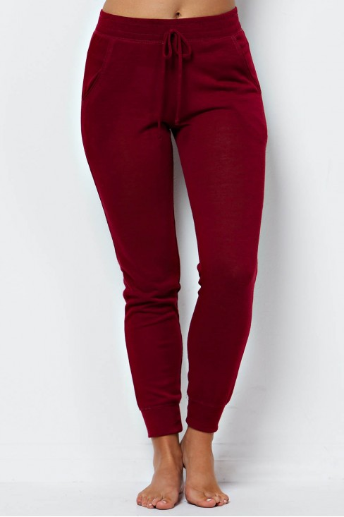 Heather Knit Drawstring Jogger in Wine