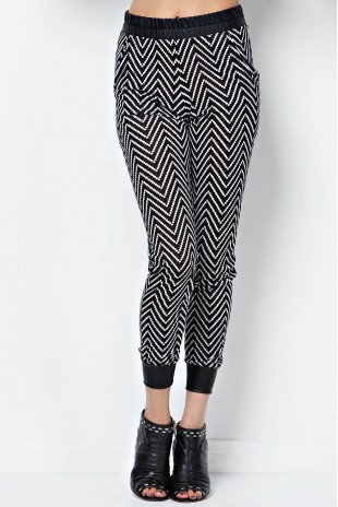 Faux Leather Trimmed Chevron Jogger in Black/Ivory