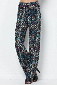 Abstract Wide Leg Pant in Teal/Rust