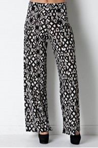 Tribal Print Wide Leg Pant in Black/Ivory