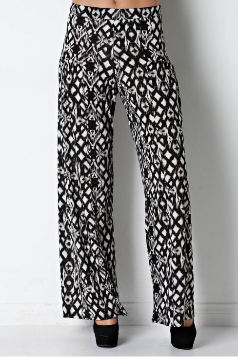 Tribal Print Wide Leg Pant in Black/Ivory
