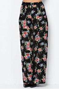 Floral Print Wide Leg Pant in Blue/Mauve