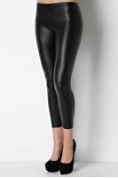 Faux Leather Jegging in Black