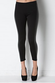 Legging with Faux Leather Panel in Black