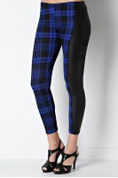 Plaid Legging with Faux Leather Panel in Royal/Black