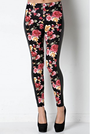 Floral Legging with Faux Leather Panel in Red/Black