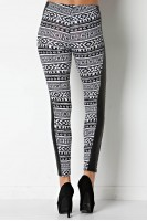 Tribal Legging with Faux Leather Panel in Black/White