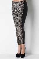Animal Legging with Faux Leather Panel in Leopard/Black