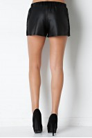 Faux Leather Shorts in Black
