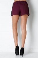 Lace Trim Shorts in Burgundy