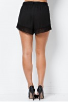 Lace Trim Shorts in Black