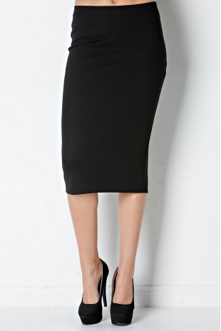 Rib Print Pencil Skirt in Black