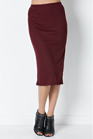 Rib Print Pencil Skirt in Burgundy