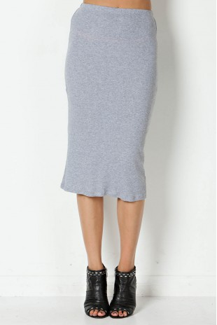 Rib Print Pencil Skirt in Heather Grey