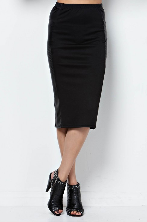 Faux Leather Panel Pencil Skirt in Black