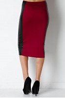 Faux Leather Panel Pencil Skirt in Burgundy/Black
