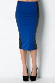 Faux Leather Panel Pencil Skirt in Royal/Black