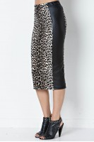 Faux Leather Panel Pencil Skirt in Leopard/Black