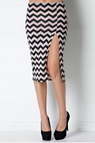 Chevron Side Slit Pencil Skirt in Black/Ivory