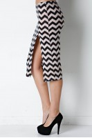 Chevron Side Slit Pencil Skirt in Black/Ivory