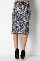 Animal Print Side Slit Pencil Skirt in Black/Ivory