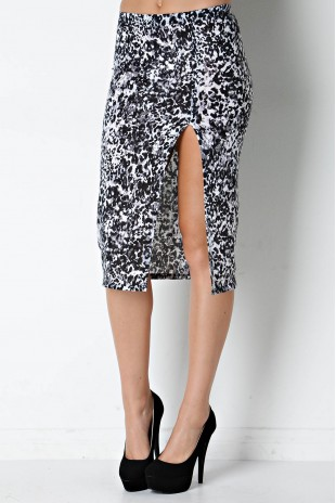 Animal Print Side Slit Pencil Skirt in Black/Ivory