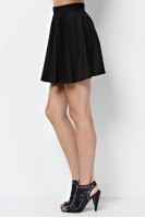 Solid Knit Skater Skirt in Black
