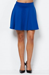 Solid Knit Skater Skirt in Royal