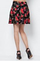 Floral Print Skater Skirt in Black/Red